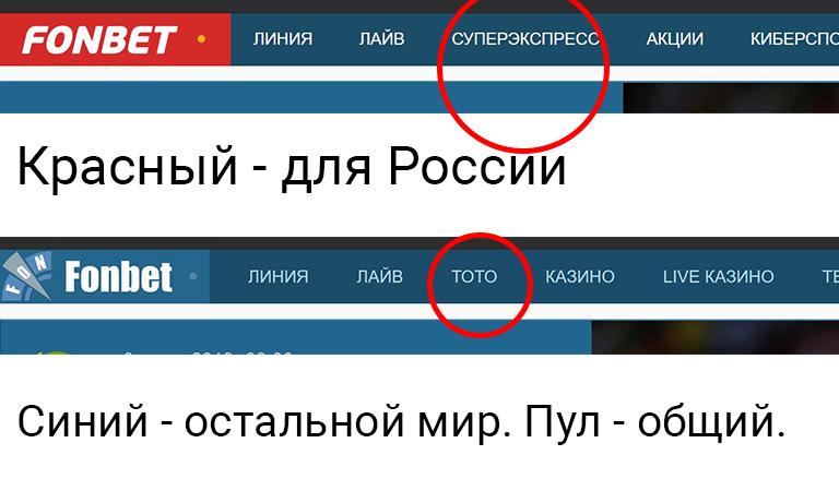 Разница межу синим и красным фонбетом
