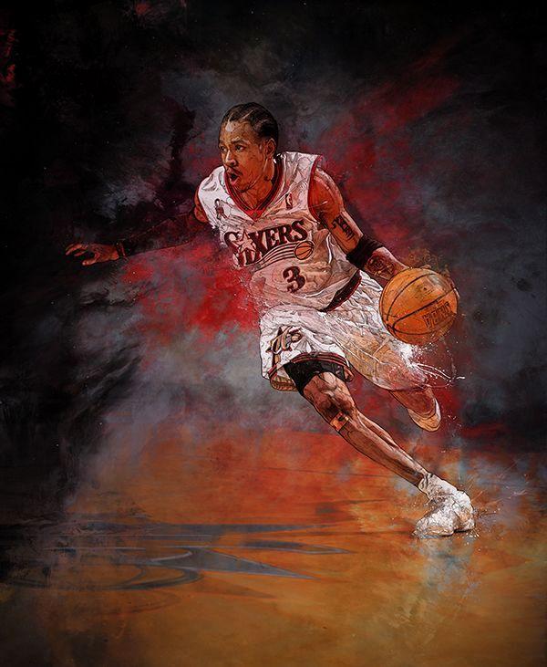 баскетболист силуэт яркий
